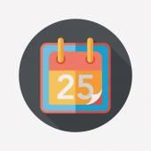 Calendar flat icon with long shadow, eps10 — Stock Vector