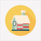 Christmas house flat icon with long shadow,eps10 — 图库矢量图片