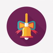 Christmas bells flat icon with long shadow,eps10 — 图库矢量图片