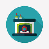 Christmas fireplace flat icon with long shadow,eps10 — 图库矢量图片