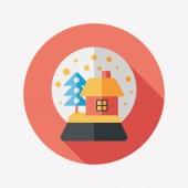 Icône plate globe et cadeaux de neige à grandissime, eps 10 — Vecteur