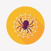 Halloween spinne flach icon mit langen schatten, eps10 — Stockvektor