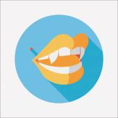 Halloween fangs flat icon with long shadow,eps10 — Stock Vector