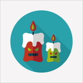 Halloween candle flat icon with long shadow,eps10 — Stock Vector
