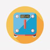 Weight scale flat icon with long shadow — Stock Vector