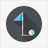 Icono plana golf con sombra, eps10 — Vector de stock