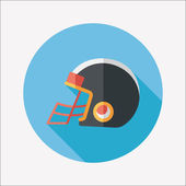 American football helmet flat icon with long shadow,eps10 — Stock Vector