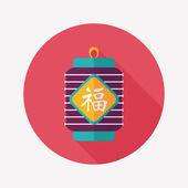 Capodanno cinese piatto icona con lunga ombra, eps10, festi cinese — Vettoriale Stock