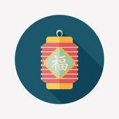 Chinesisches Neujahr-flach-Symbol mit langen Schatten, eps10, chinesische festi — Stockvektor