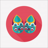 Embroidered shoes flat icon with long shadow,eps10  — Vector de stock