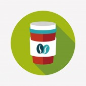 Takeaway coffee flat icon with long shadow,eps10 — Stockvector