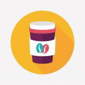 Takeaway coffee flat icon with long shadow,eps10 — 图库矢量图片