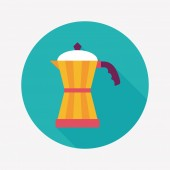 Coffee kettle flat icon with long shadow,eps10 — Vetor de Stock