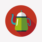 Coffee kettle flat icon with long shadow,eps10 — 图库矢量图片