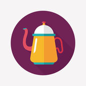 Coffee kettle flat icon with long shadow,eps10 — Stockvector