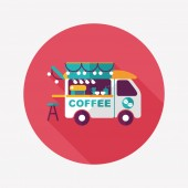 Coffee shop car flat icon with long shadow,eps10 — Stock Vector