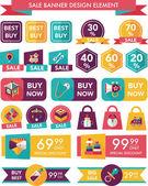 Baby försäljning banner design platt bakgrund set, eps10 — Stockvektor