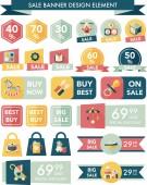 Bebek satış afiş tasarım düz arka plan ayarlamak, eps10 — Stok Vektör