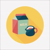 Milk package flat icon with long shadow,eps10 — Stock Vector