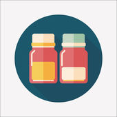 Glass bottled drinks flat icon with long shadow,eps10 — ストックベクタ