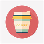 Takeaway coffee flat icon with long shadow,eps10 — Cтоковый вектор