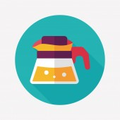 Coffee kettle flat icon with long shadow,eps10 — Cтоковый вектор
