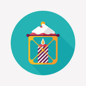 Christmas candle flat icon with long shadow,eps10 — Stock vektor
