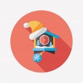 Christmas clock flat icon with long shadow,eps10 — Vector de stock