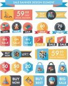 Toy sale banner design flat background set, eps10 — Vector de stock