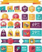игрушечный баннер продаж проектирует плоский второстепенный набор, eps10 — Cтоковый вектор