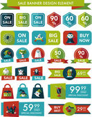 Halloween sale banner design flat background set, eps10 — Stock Vector