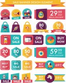 Toy sale banner design flat background set, eps10 — Stock Vector
