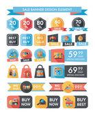 Toy sale banner design flat background set, eps10 — Stockvektor