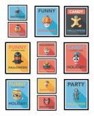 Halloween poster banner design flat background set, eps10 — Stock Vector