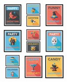 Halloween poster banner design flat background set, eps10 — Stockvektor