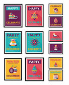 Christmas poster banner design flat background set, eps10 — Vector de stock