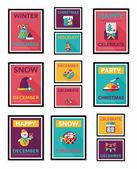 Christmas poster banner design flat background set, eps10 — Stock Vector