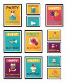Birthday poster flat banner design flat background set, eps10 — Stockvektor
