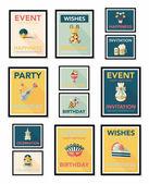 Birthday poster flat banner design flat background set, eps10 — Stok Vektör