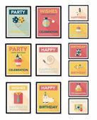 Birthday poster flat banner design flat background set, eps10 — Stock Vector
