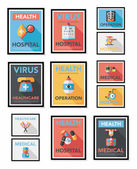Hospital flat banner design flat background set, eps10 — Stock Vector