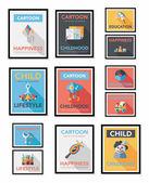 Toy poster flat banner design flat background set, eps10 — Stock Vector