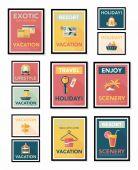Travel poster banner design flat background set, eps10 — Stok Vektör