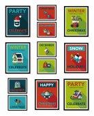 Christmas poster flat banner design flat background set, eps10 — Stok Vektör