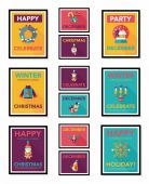 Christmas poster flat banner design flat background set, eps10 — Stock Vector
