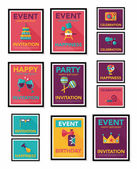 Birthday poster flat banner design flat background set, eps10 — Stock Vector