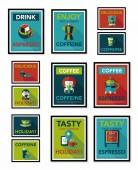 Kaffee Poster flache Banner Gestaltung flachen Hintergrund Set, eps10 — Stockvektor