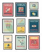 Hospital poster banner design flat background set, eps10 — Stock Vector