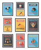 Sport poster flat banner design flat background set, eps10 — Stock vektor