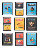 Sport poster flat banner design flat background set, eps10 — Stockvector
